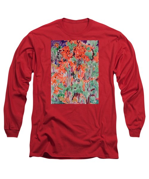 Regal Red Fall Foliage Long Sleeve T-Shirt by Esther Newman-Cohen