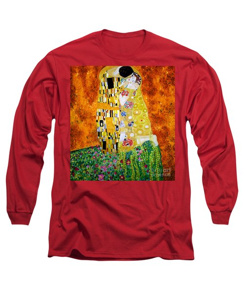 Reproduction Of The Kiss By Gustav Klimt Long Sleeve T-Shirt by Zedi