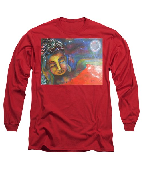 Long Sleeve T-Shirt featuring the painting Buddha Resting Under The Full Moon  by Prerna Poojara