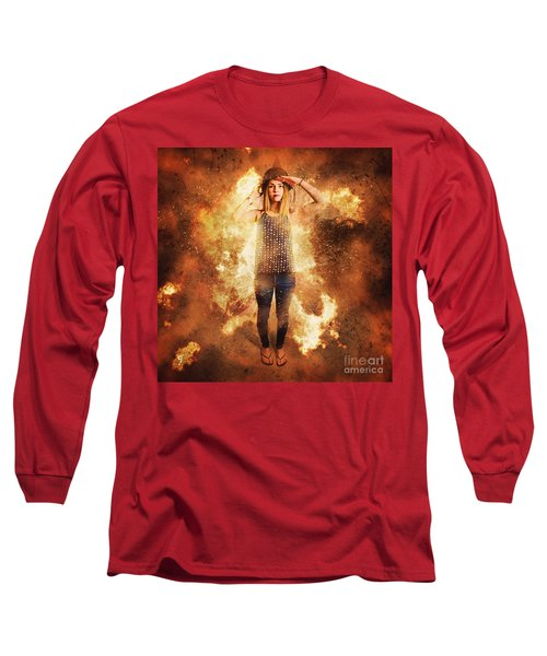 Retro Pinup Girl Soldier With Fashion Pride Long Sleeve T-Shirt