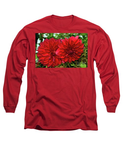 Long Sleeve T-Shirt featuring the photograph Rich Red Dahlias By Kaye Menner by Kaye Menner
