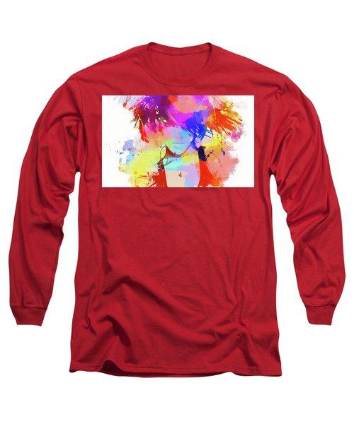 Rihanna Paint Splatter Long Sleeve T-Shirt by Dan Sproul