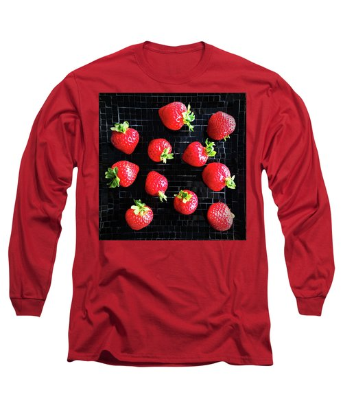 Ripe Strawberries On Back Plate Long Sleeve T-Shirt by GoodMood Art