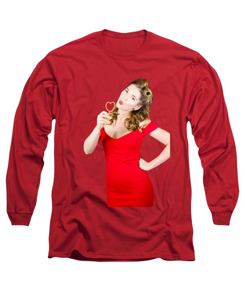 Romantic Blond Pin-up Lady Blowing Party Bubbles Long Sleeve T-Shirt by Jorgo Photography - Wall Art Gallery