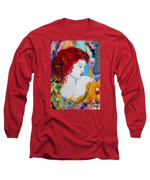 Romantic Read Heaired Woman Long Sleeve T-Shirt