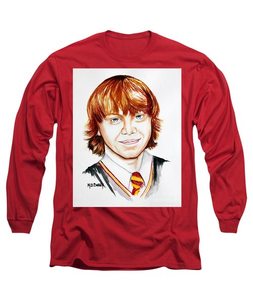 Ron Weasley Long Sleeve T-Shirt by Maria Barry