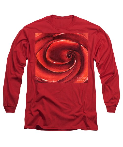 Long Sleeve T-Shirt featuring the painting Rose In Stone by Allison Ashton