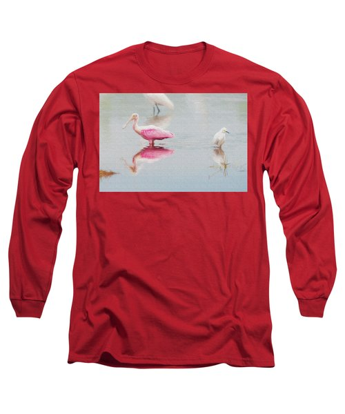 Roseate Spoonbill Eating In A Lagoon Long Sleeve T-Shirt