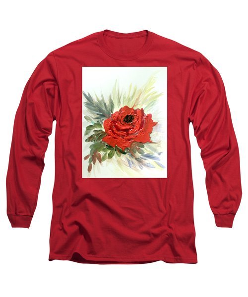 Long Sleeve T-Shirt featuring the painting Roses Are Red by Dorothy Maier