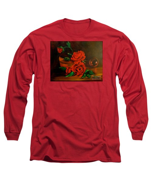 Long Sleeve T-Shirt featuring the painting Roses Are Red by Jenny Lee