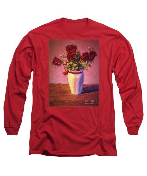 Long Sleeve T-Shirt featuring the photograph Roses In Vase  ... by Chuck Caramella