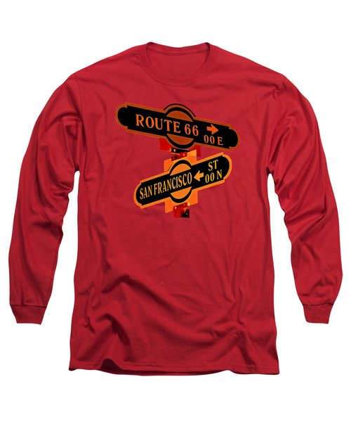 Long Sleeve T-Shirt featuring the photograph Route 66 Street Sign Stylized Colors by Phyllis Denton