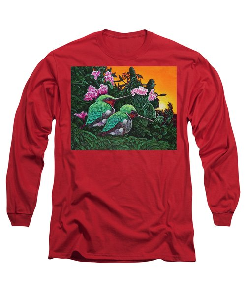 Ruby-throated Hummingbirds Long Sleeve T-Shirt by Michael Frank