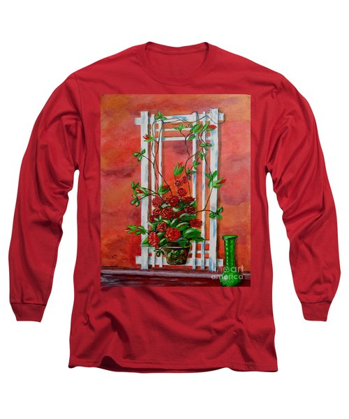 Long Sleeve T-Shirt featuring the painting Running Roses by Melvin Turner