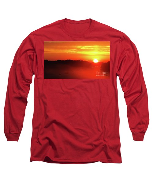 Rush Hour Begins At Sunrise I 94 To Madison Wisconsin Long Sleeve T-Shirt
