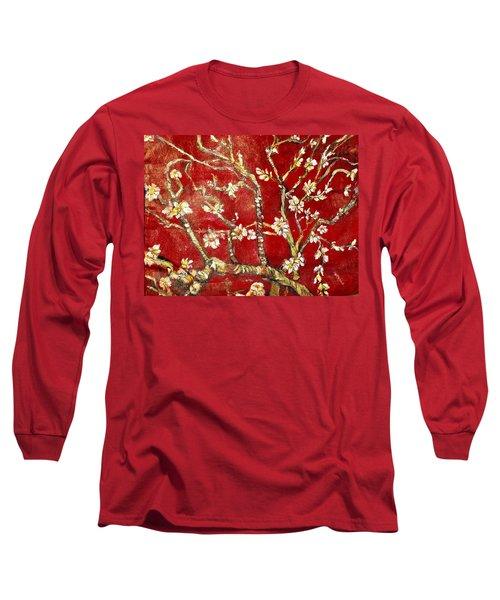 Sac Rouge Avec Fleurs D'almandiers Long Sleeve T-Shirt