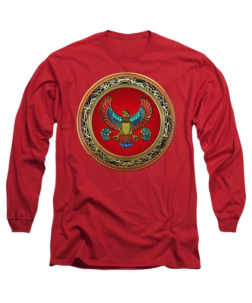 Sacred Egyptian Falcon Long Sleeve T-Shirt by Serge Averbukh
