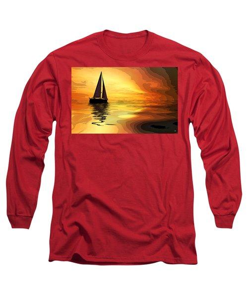 Sailboat At Sunset Long Sleeve T-Shirt by Charles Shoup