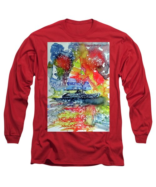 Sailboat At Sunset II Long Sleeve T-Shirt by Kovacs Anna Brigitta