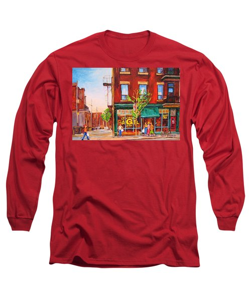 Long Sleeve T-Shirt featuring the painting Saint Viateur Bagel by Carole Spandau
