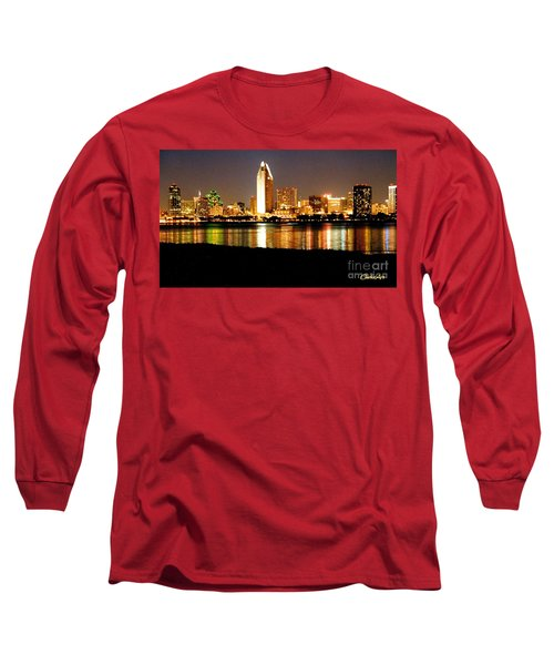 San Diego Skyline With Reflections On Mission Bay Long Sleeve T-Shirt