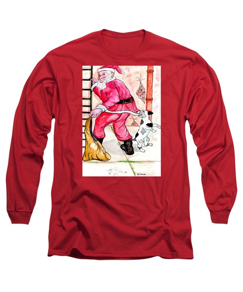 Santa Climbs The Ladder Long Sleeve T-Shirt by Philip Bracco
