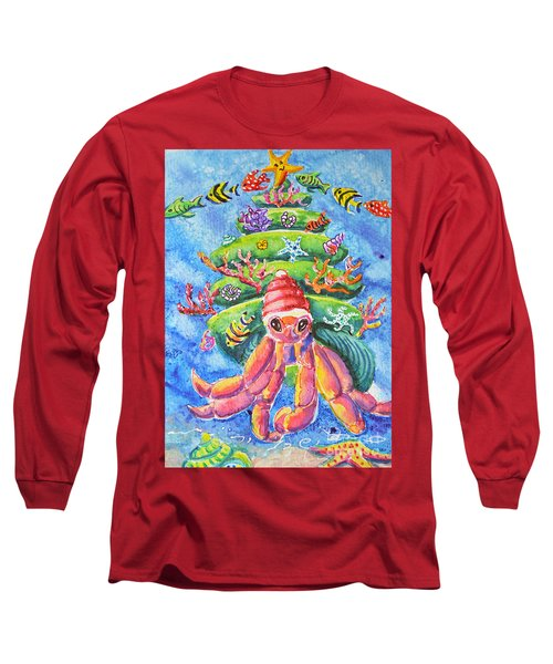 Long Sleeve T-Shirt featuring the painting Santa Crab by Li Newton