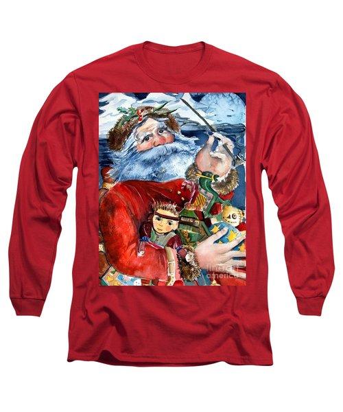 Santa Long Sleeve T-Shirt by Mindy Newman