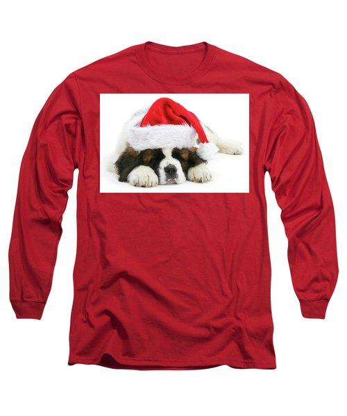 Santa's Snoozing Saint Bernard Long Sleeve T-Shirt