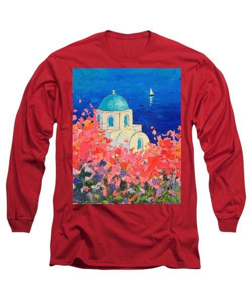 Santorini Impression - Full Bloom In Santorini Greece Long Sleeve T-Shirt by Ana Maria Edulescu