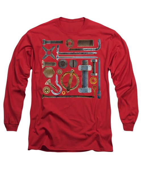 Screws, Nuts Bolts And Hooks On Transparent Background Long Sleeve T-Shirt
