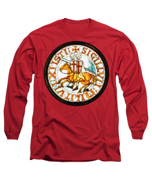 Seal Of The Knights Templar Long Sleeve T-Shirt by John Springfield