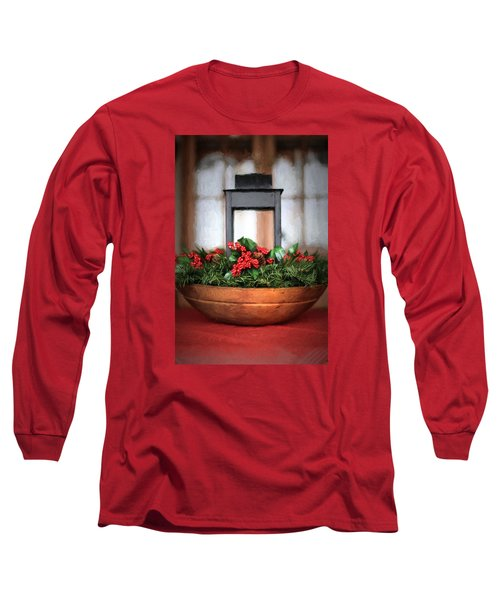 Long Sleeve T-Shirt featuring the photograph Seasons Greetings Christmas Centerpiece by Shelley Neff