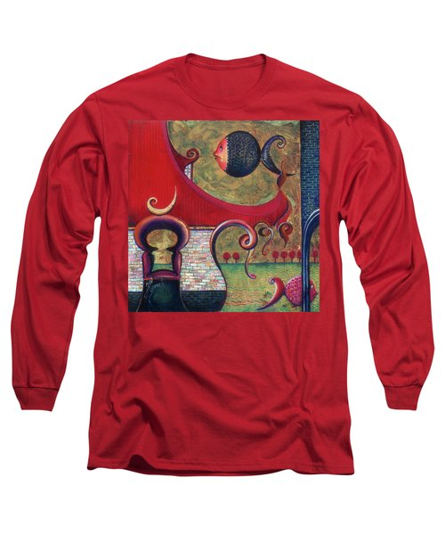 Long Sleeve T-Shirt featuring the painting Seatime by Anna Ewa Miarczynska
