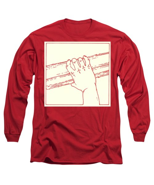 Long Sleeve T-Shirt featuring the drawing Second Station- Jesus Is Made To Carry His Cross by William Hart McNichols