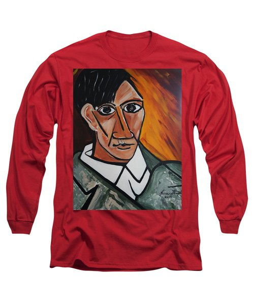 Self Portrait Of Picasso Long Sleeve T-Shirt by Nora Shepley