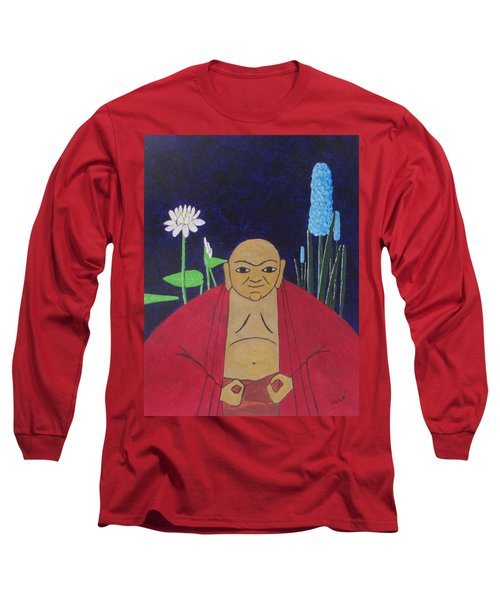 Long Sleeve T-Shirt featuring the painting Serene Buddha by Hilda and Jose Garrancho