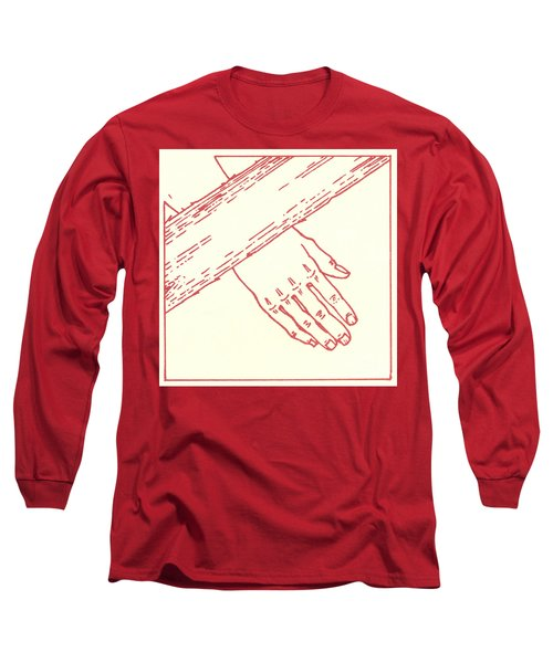 Long Sleeve T-Shirt featuring the drawing Seventh Station- Jesus Falls The Second Time  by William Hart McNichols