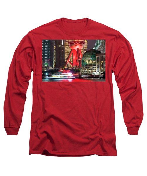 Shanghai China Downtown City Skyline At Night Long Sleeve T-Shirt