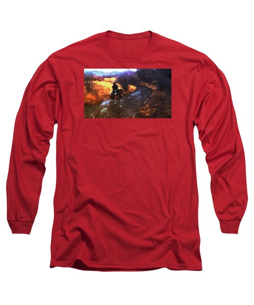 Long Sleeve T-Shirt featuring the photograph She Rides A Mustang-wrangler In The Rain by Anastasia Savage Ealy