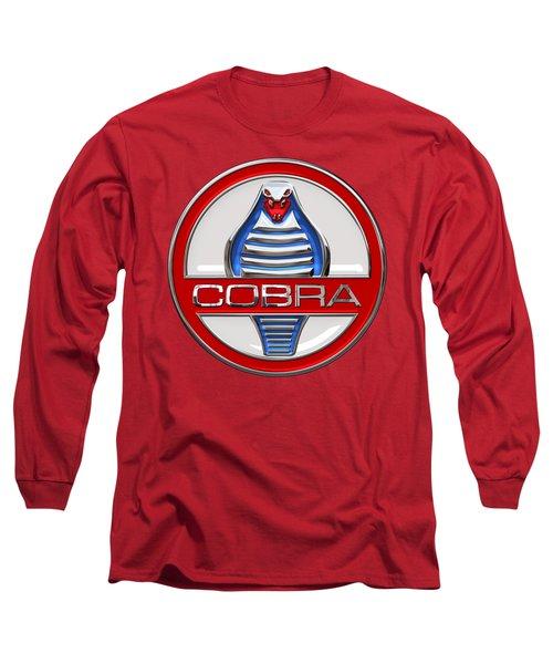 Shelby Ac Cobra - Original 3d Badge On Red Long Sleeve T-Shirt by Serge Averbukh