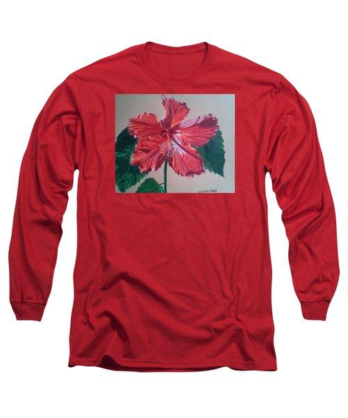 Shimmer - Red Hibiscus Long Sleeve T-Shirt by Anita Putman