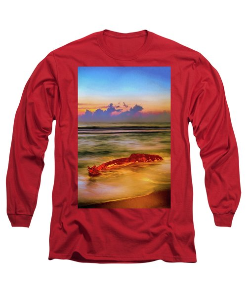 Long Sleeve T-Shirt featuring the painting Shipwreck On The Outer Banks The End Ap by Dan Carmichael