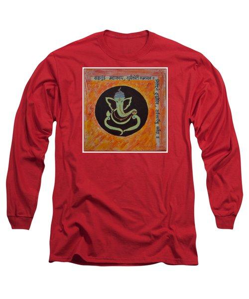 Long Sleeve T-Shirt featuring the painting Shri Ganeshay Namah by Sonali Gangane