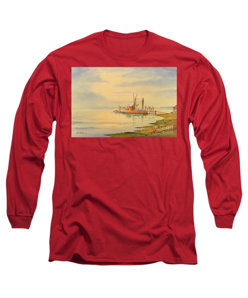 Long Sleeve T-Shirt featuring the painting Shrimp Boat Sunset by Bill Holkham
