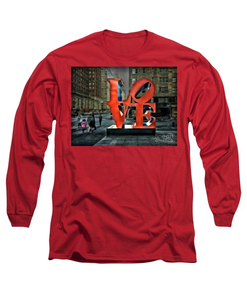 Long Sleeve T-Shirt featuring the photograph Sights In New York City - Love Statue by Walt Foegelle