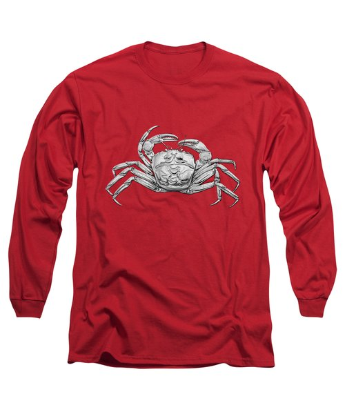 Long Sleeve T-Shirt featuring the digital art Silver Crab On Red Canvas by Serge Averbukh