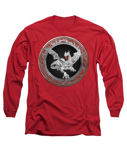Silver Guardian Dragon Over Red Velvet  Long Sleeve T-Shirt by Serge Averbukh