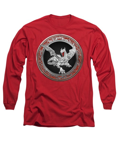 Silver Guardian Dragon Over Red Velvet  Long Sleeve T-Shirt