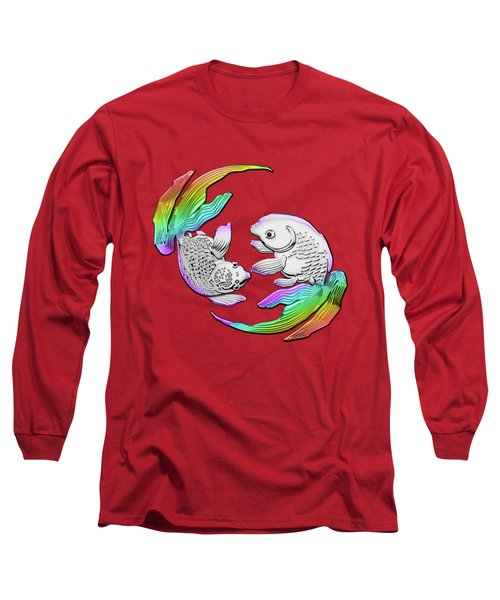 Silver Japanese Koi Goldfish Over Red Canvas Long Sleeve T-Shirt
